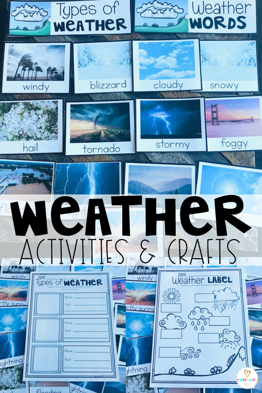 Are you looking for weather activities for kids?  A unit with weather crafts and ideas? Our Weather Activities for Kindergarten unit is just what you need! This unit contains 14 real weather photos for kids to use with many included activities.  There are labeling, list making, fact writing and opinion writing activities.