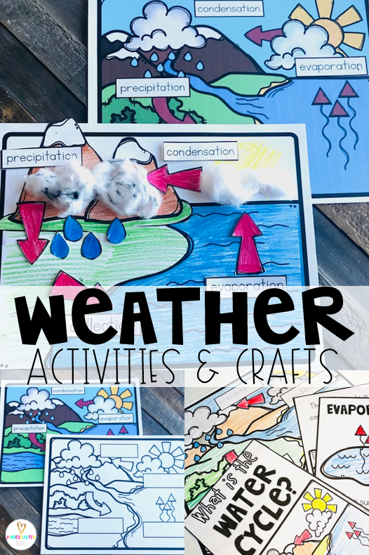 Are you looking for weather activities for kids?  A unit with weather crafts and ideas? Our Weather Activities for Kindergarten unit is just what you need! They will learn about the water cycle with a fun reproducible and interactive labeling activities.