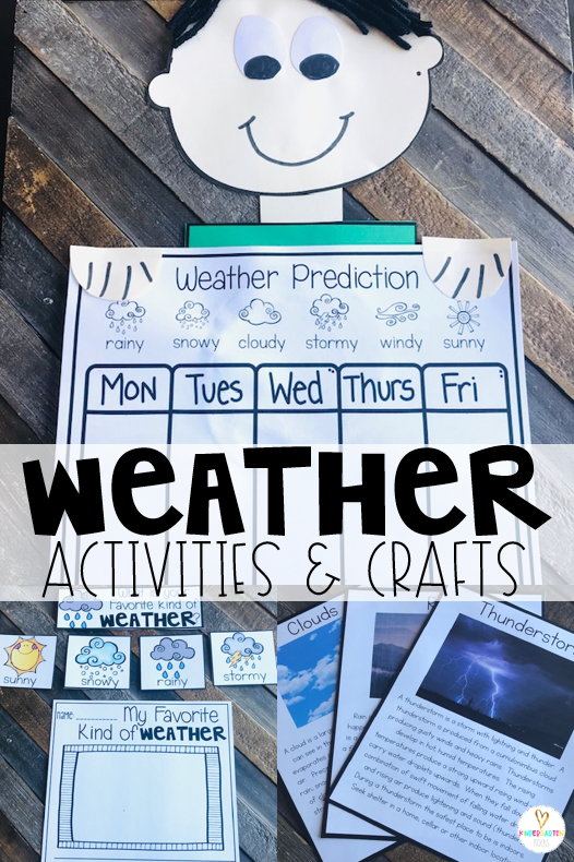 Are you looking for weather activities for kids?  A unit with weather crafts and ideas? Our Weather Activities for Kindergarten unit is just what you need! Kids can learn about and monitor weather with fun activities.