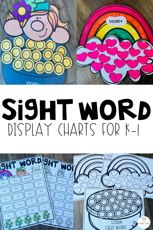 Sight Word activities are a crucial part of literacy in Kindergarten and first grade and it can become pretty monotonous for little learners.  Each month I try to motivate learners with a fun craft and display chart.  To create the word list I type 20 words on a checklist document and the words spread throughout.  For the month of march the boys and girls can add gold to the leprechaun's pot or hearts to a rainbow.
