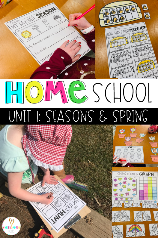 Are you new to home schooling? Are you looking for simple low prep organized activities for your kindergarten student? Then you will love our home school unit Season's and Spring. This unit is perfect for parents working at home. The lessons for reading and math are about an hour each.