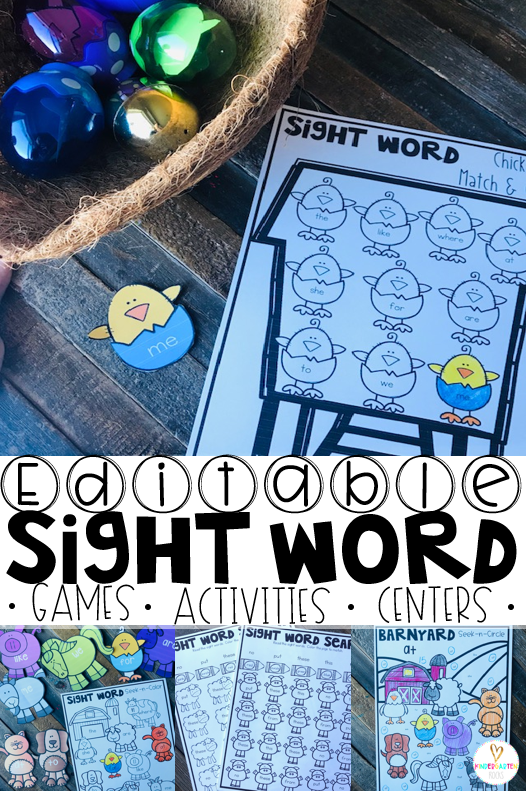 Are you looking for editable sight word games sight word activities for your kindergarten students? Then, you will love all of the hands on printables, games, activities and centers. Editable Sight Word Games is perfect for distance learning and homeschool as well.