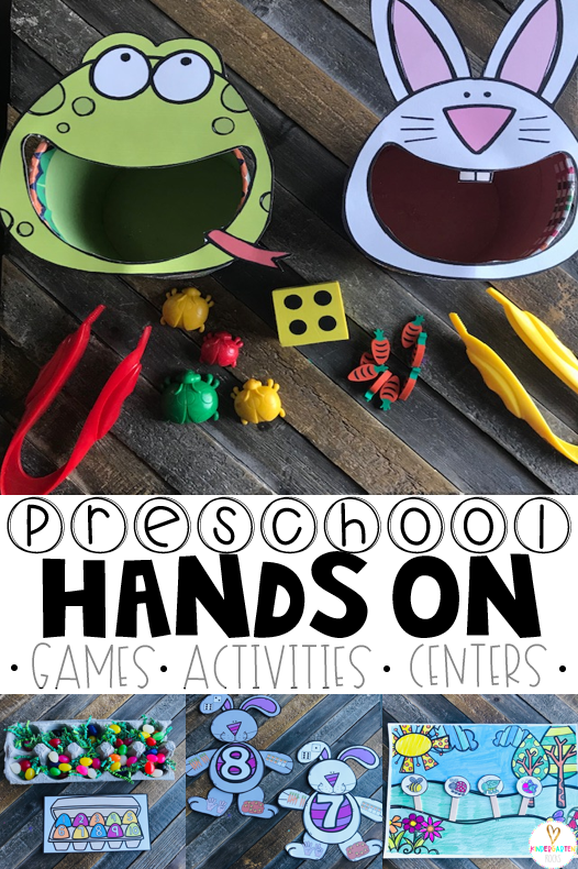 Are you looking for fun hands on spring activities for preschool?  Homeschool and preschool have never been more fun with April Math and Literacy Centers for Preschool!