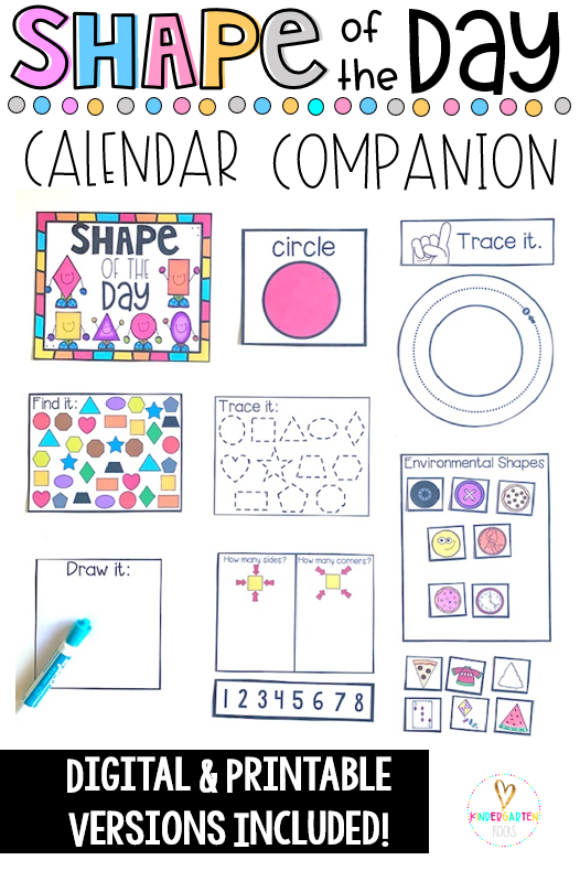 Are you looking for back to school activities to help make your morning meeting, calendar time or math corner more academic? Then, you will love Shape of the Day Calendar Companion. The boys and girls can spend a day or a week on each shape. This unit includes PDF Form as well as digital learning options for Seesaw and Google Classroom