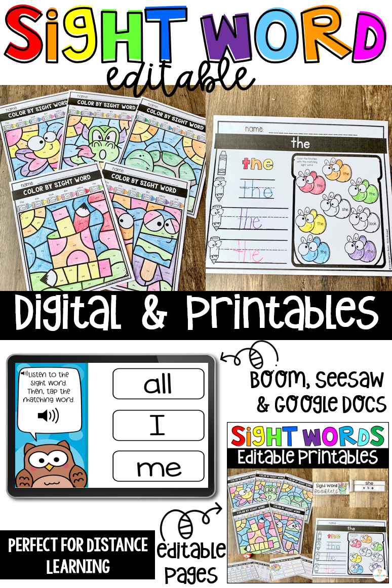 Are you looking for a fun way to practice sight words? Then you will like our Digital and Printable Sight Words Editable Printables and Digital Activities.
