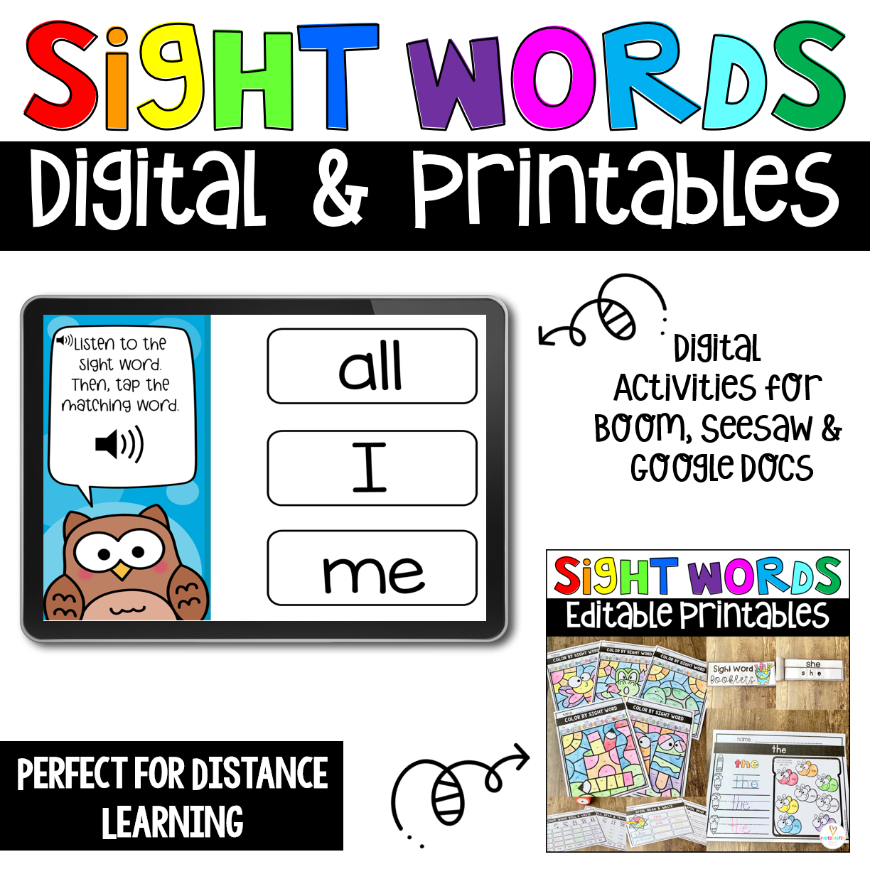 Editable Sight Word Printables and Digital Activities