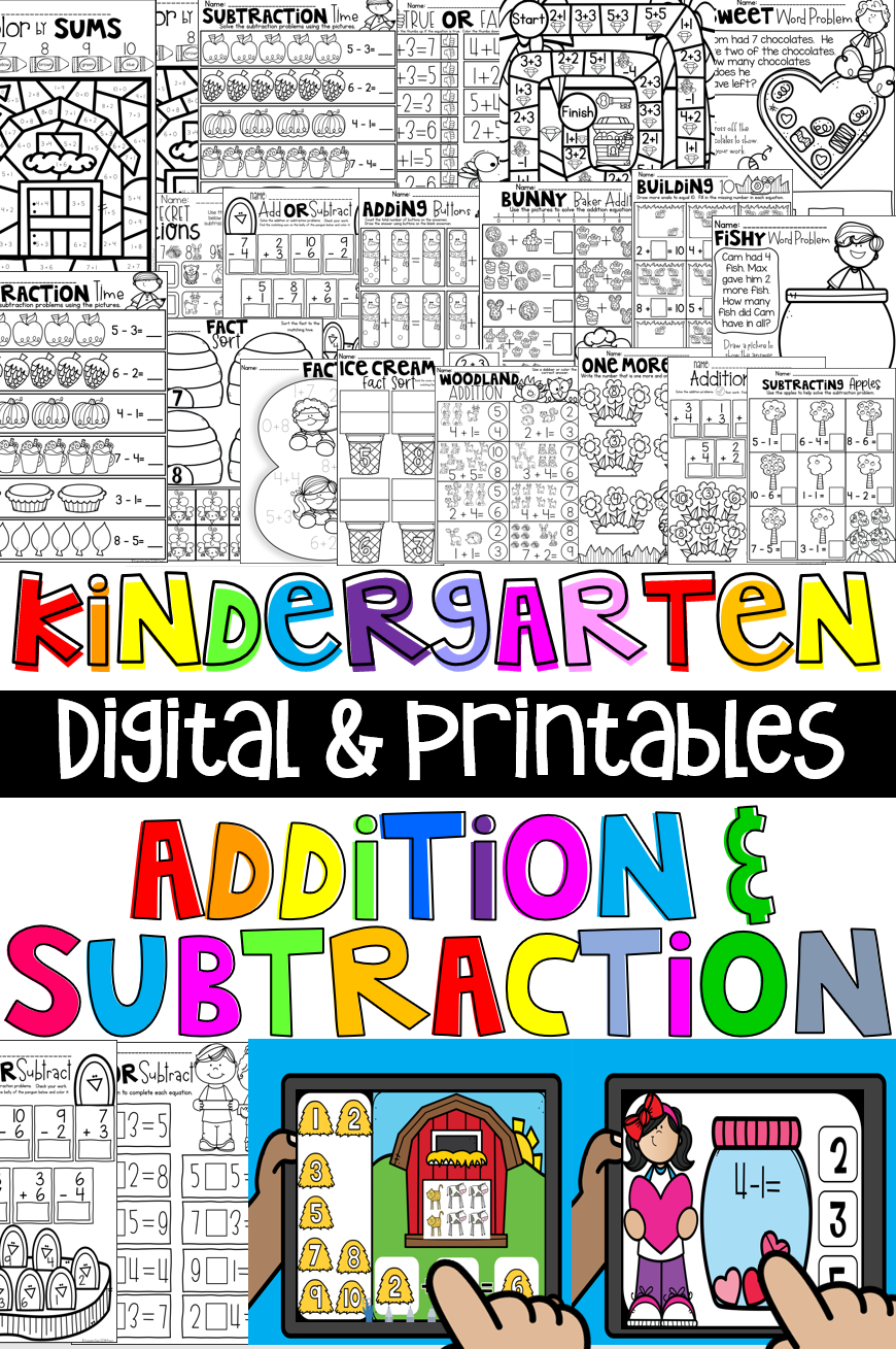 Are you looking for kindergarten and preschool aged appropriate digital and printable activities for you distance learning classroom? Then, you will love our Digital & Printable Bundle GROWING BUNDLE. This unit is full of fun activities that will help your kindergartners learn about colors, shapes, numbers, time, money, addition, subtraction, 3D shapes, beginning sounds, CVC words, comprehension, sight words and so much more!